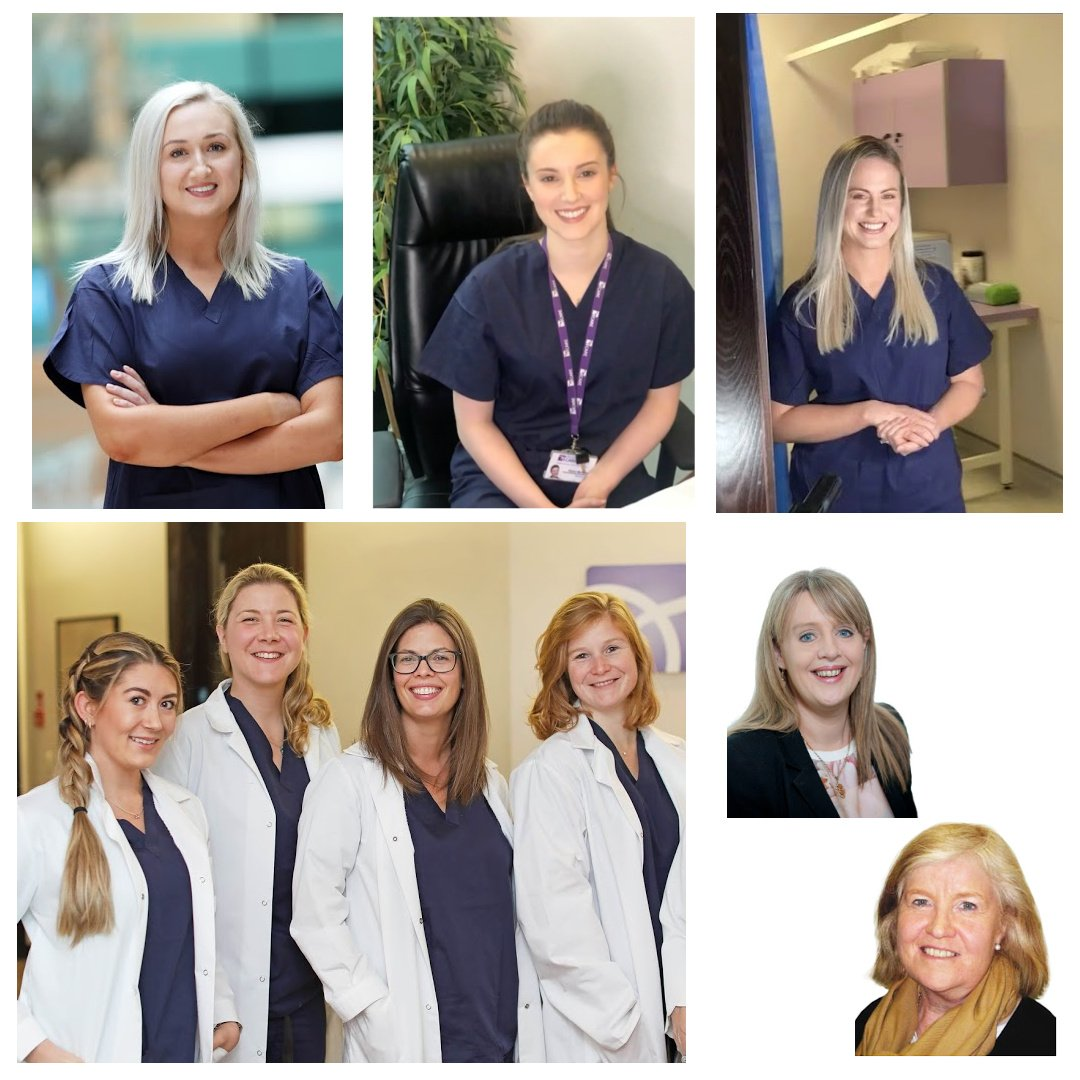 Photo collage of medical team. A blond nurse standing, a brown haired nurse sitting down, a blonde nurse smiling and standing, admin staff, 4 female embryologists in white coats